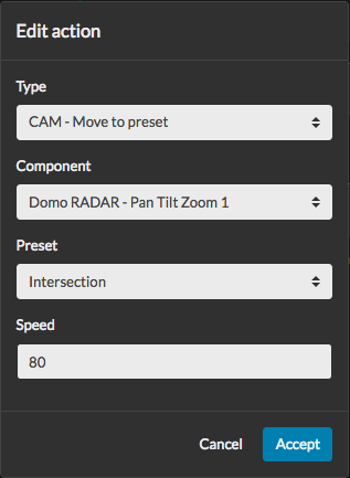Action editor to move a camera to a preset
