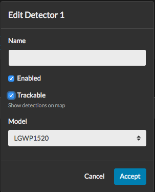 Any device that generates events can be enabled/disabled as *Trackable*
